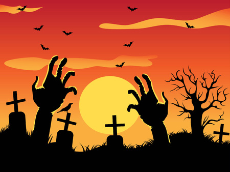 the Halloween design background with zombie hands and dead tree on graveyard Stock Illustratie