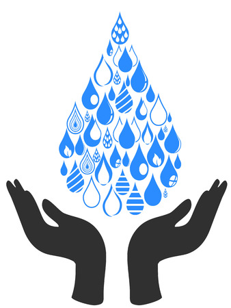 isolated abstract Save Water, Hand Hold Water Drop symbol from white background