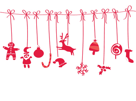 isolated doodle hanging christmas gifts background from white background