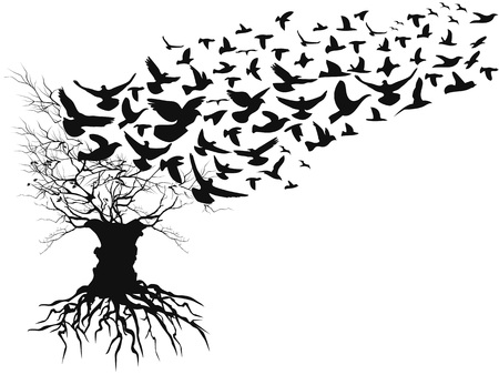 isolated birds flying away dead branches tree from white background 向量圖像