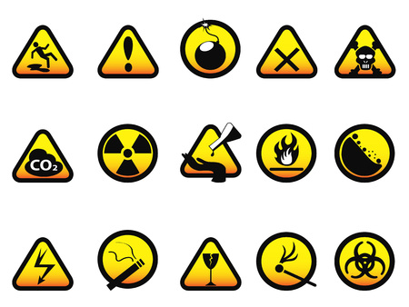isolated color danger sign icons set from white background 向量圖像