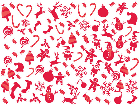 isolated doodle red color Christmas patterns for Christmas holiday background