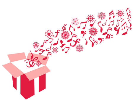 isolated red color gift box music note and snowflake from white background