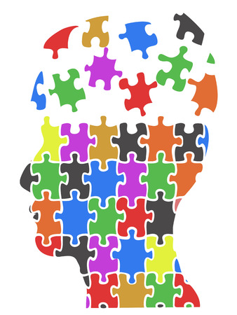 isolated color head puzzle pieces from white background