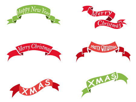 isolated christmas vintage banner set from white background