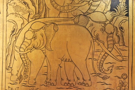 Elephant drawing on temple window