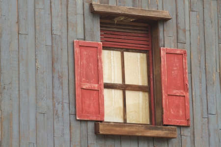Red old style wooden window Stock Photo - 14595454