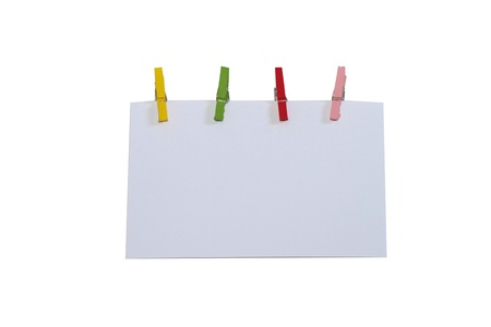 Blank note paper with colorful clip photo