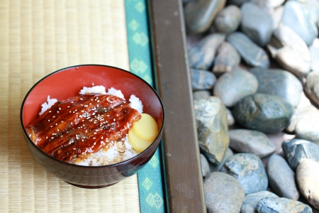 Unagi rice bowl on japanese mat