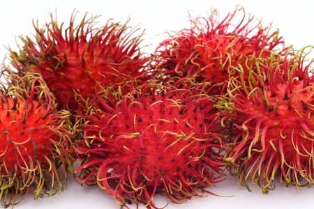 Group of rambutan on white background photo