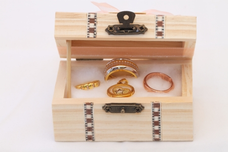 Treasure coffer with gold inside photo