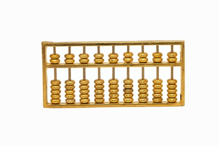 Golden abacus on white background
