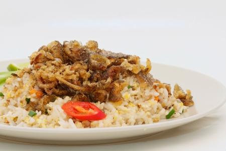 gourami: Fried rice with gourami isolated Stock Photo