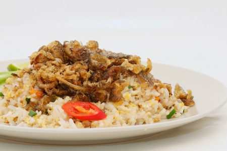 Fried rice with gourami isolated Standard-Bild