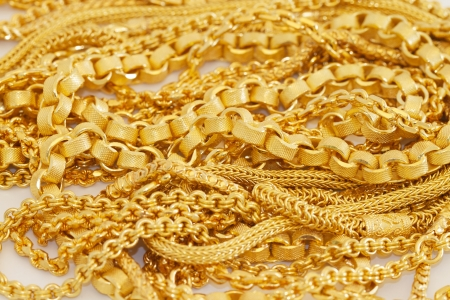 Many style of gold necklace Imagens