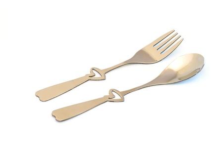 pareja comiendo: Conjunto de corazón en forma de cuchara y tenedor mango
