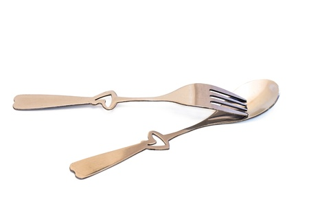 Heart shape handle fork on the spoon