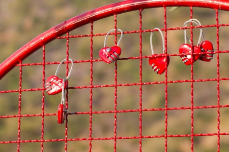 fulfil: Heart shape key lock hanging on net