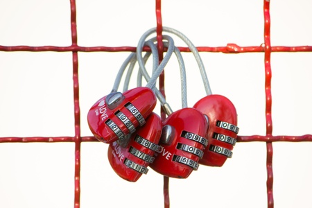 fulfil: Group of heart shape keychains hanging on a grid