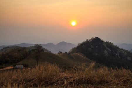 Beautiful sunset scene from northern Thailand photo