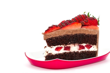 Chocolate strawberry cake with fresh strawberry on top photo