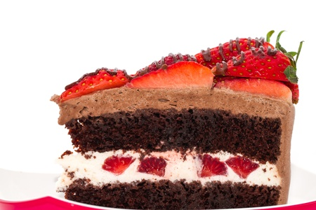 Chocolate strawberry cake with fresh strawberry on top