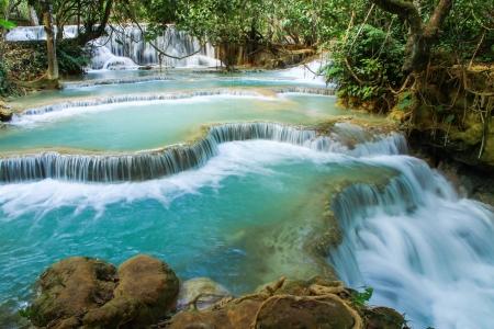 cataract waterfall: Kuang Si waterfalls at Laos