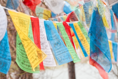Tibet flags hanging around the temple Stock Photo