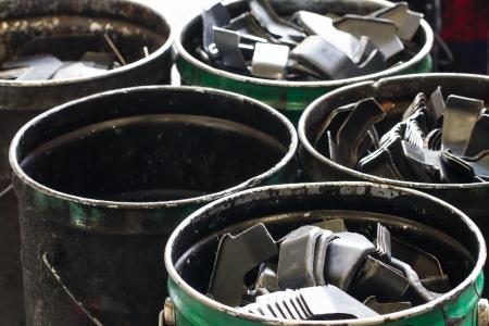 Scrap steels in the bucket photo