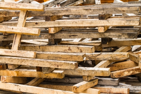 Pile of wood in the factory