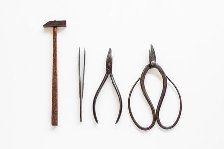 Hammer scissor plier tools of goldsmith Standard-Bild