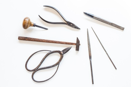 Hammer scissor plier tools of goldsmith Stock Photo