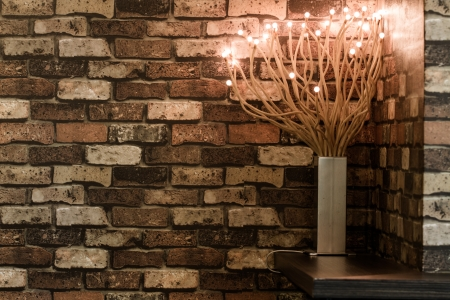 Light vase on the corner of coffee shop