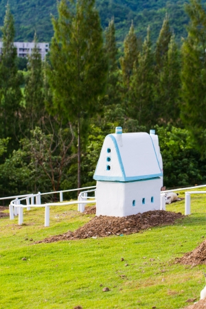 Rabbits house in a farm photo