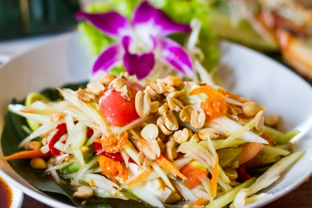thai style papaya salad with nuts photo