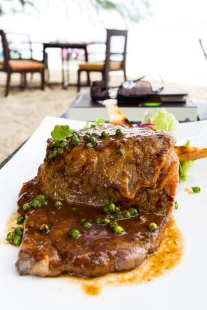 rib eye: rib eye beef steak with pepper sauce Stock Photo