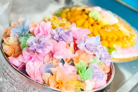 ordain: wrapped thai coins and thai dessert for ordain ceremony