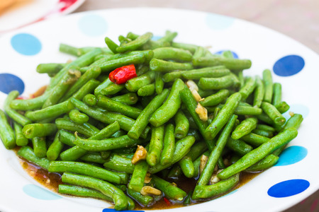 common bean: stir fried common beans with chili Stock Photo