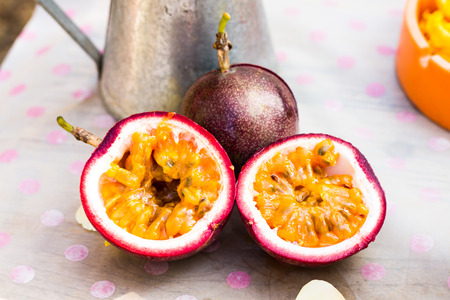 fresh cut passion fruit on the table