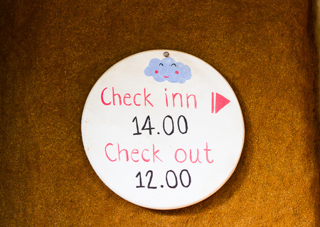 check out: check in, check out time sign