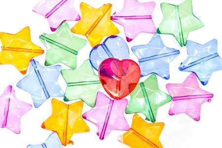 plastic heart: colorati cuore di plastica e stella perline forma trasparente