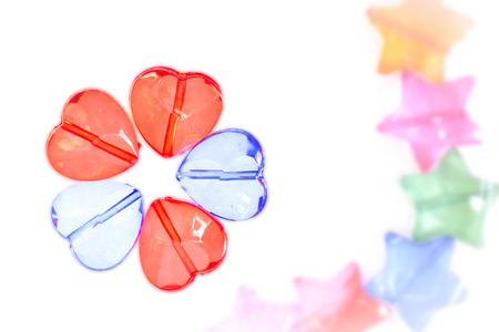 plastic heart: colorful transparent plastic heart shape beads Stock Photo