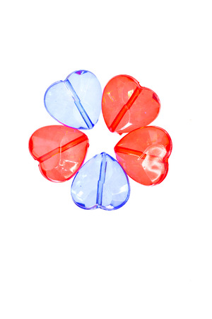 plastic heart: colorful transparent plastic heart shape beads Stock Photo