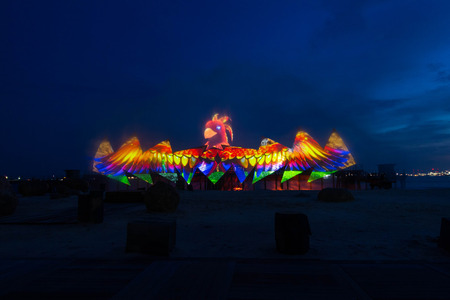 SINGAPORE - JULY 7, 2014 : Laser show Wings of time performed on the beach on July 7, 2014 in Sentosa, Singapore. Laser, light and sound show.