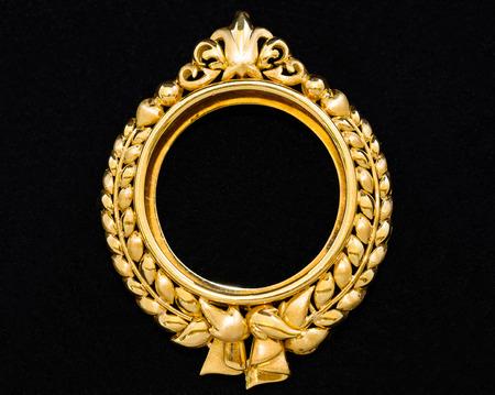 Gold Locket Frame Pendant On Black Background Stock Photo, Picture ...