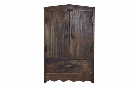ancient design wood cupboard isolated on white background photo
