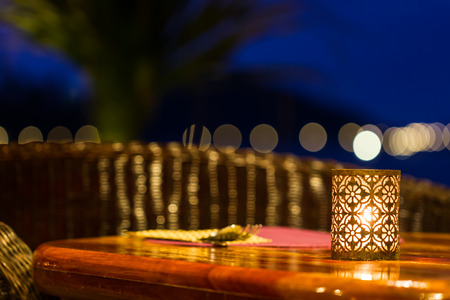 table set up with candle lamp Standard-Bild