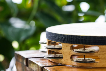 funny background: tambourine on wood table in garden