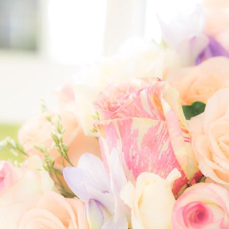 closeup soft pastel color roses bouquet Stock Photo
