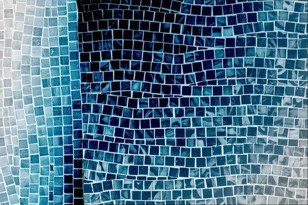 mosaic floor: rough blue mosaic tile wall in bathroom